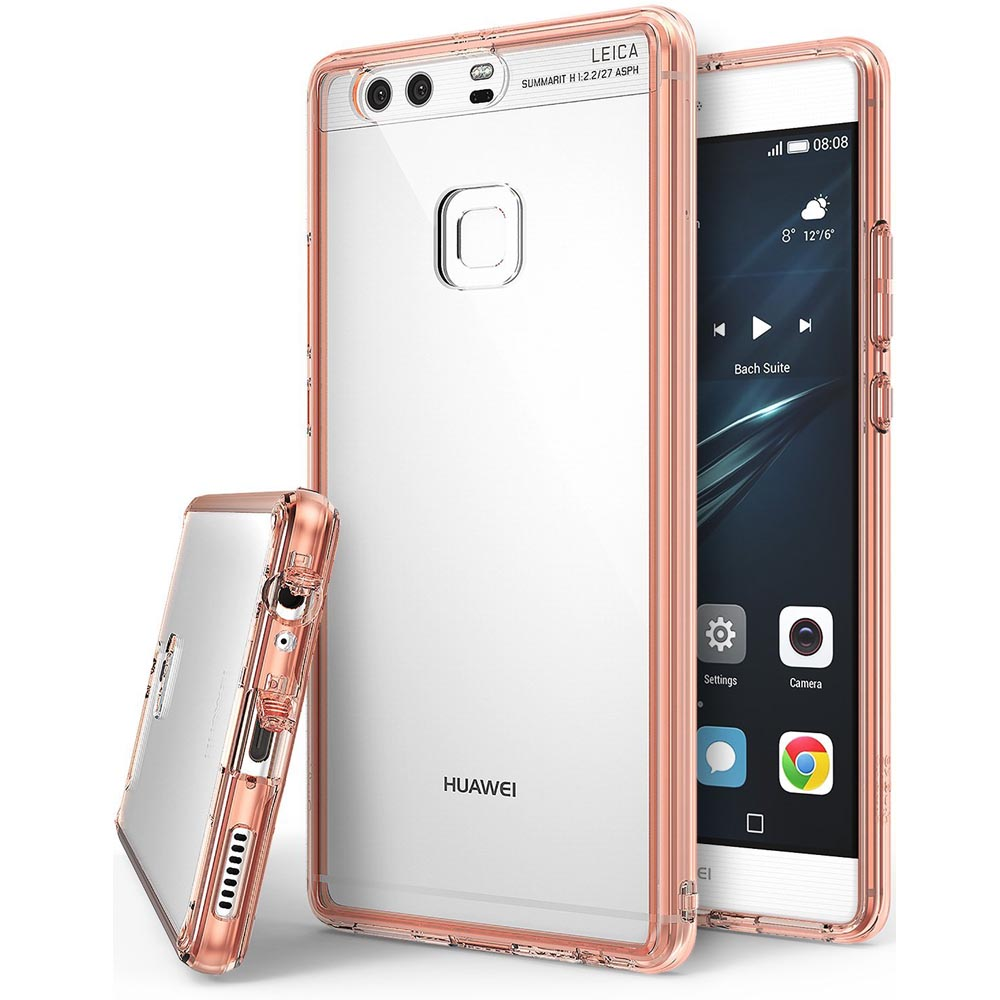 Huawei P9 Plus Case, Ringke [FUSION] Crystal Clear PC Back TPU Bumper [Drop Protection / Shock Absorption Technology] for Huawei P9 Plus - Rose Gold Crystal