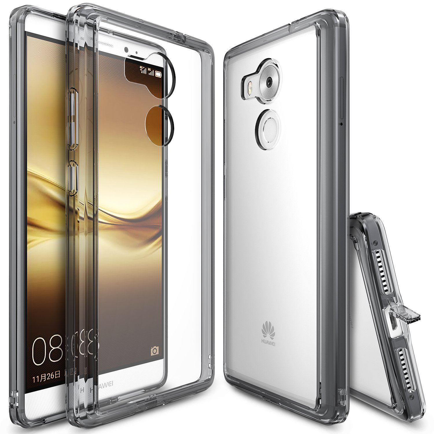 Huawei Mate 8 Case, Ringke [Smoke Black] FUSION Series Absorb Shock TPU Bumper Clear Case