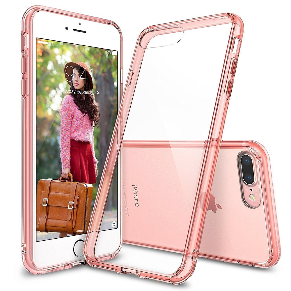 [Ringke] Apple iPhone 8 Plus / 7 Plus Case, [FUSION] Crystal Clear PC Back TPU Bumper Drop Protection Cover [Rose Gold Crystal]