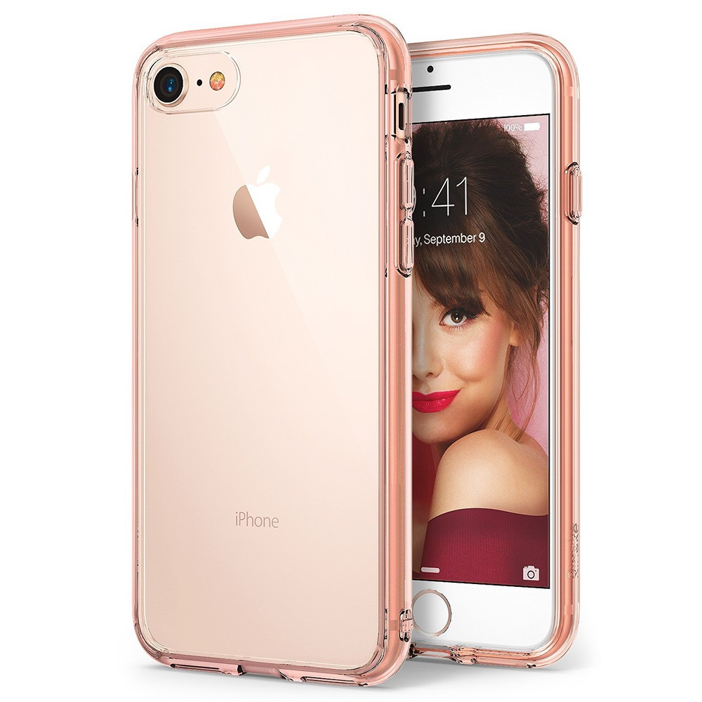 [Ringke] Apple iPhone 8 / 7 Case, [FUSION] Crystal Clear PC Back TPU Bumper Drop Protection Cover [Rose Gold Crystal]