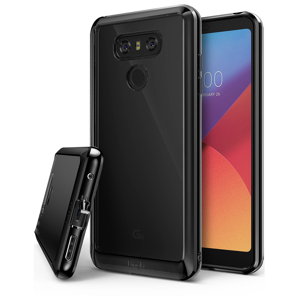 LG G6 Case, Ringke [FUSION] Crystal Clear PC Back TPU Bumper Drop Protection Cover - Ink Black