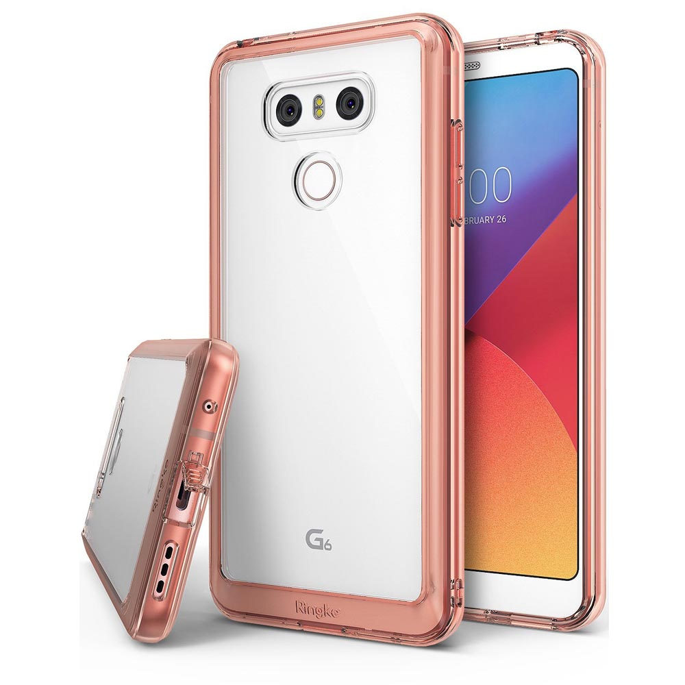 LG G6 Case, Ringke [FUSION] Tough PC Back TPU Bumper [Drop Protection/Shock Absorption Technology][Attached Dust Cap] Raised Bezels Protective Cover For LG G6 - Rose Gold Crystal
