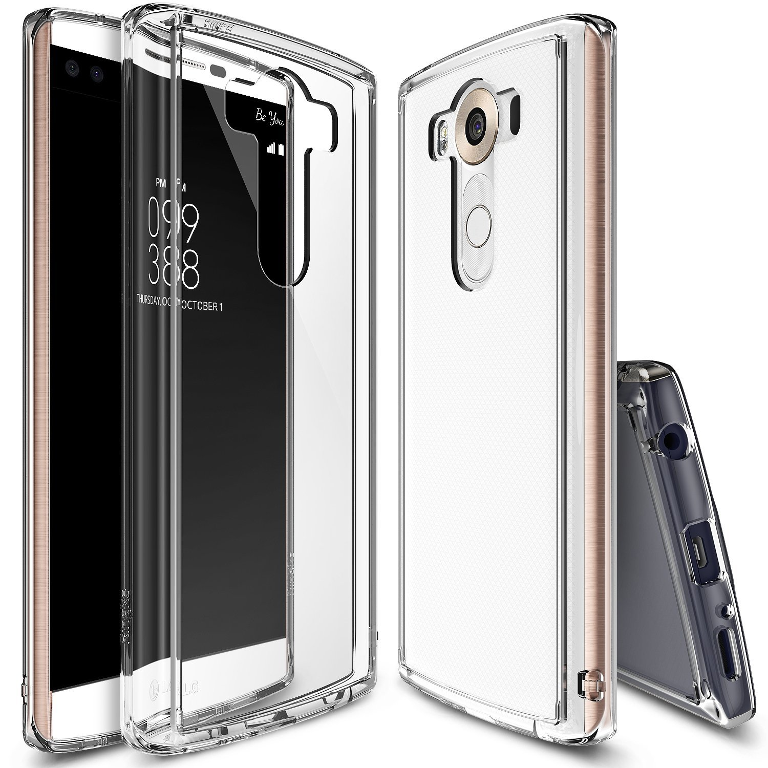 LG V10 Case, Ringke [Clear] FUSION Series Shock Absorption Premium Clear Hard Case w/ Free Screen Protector