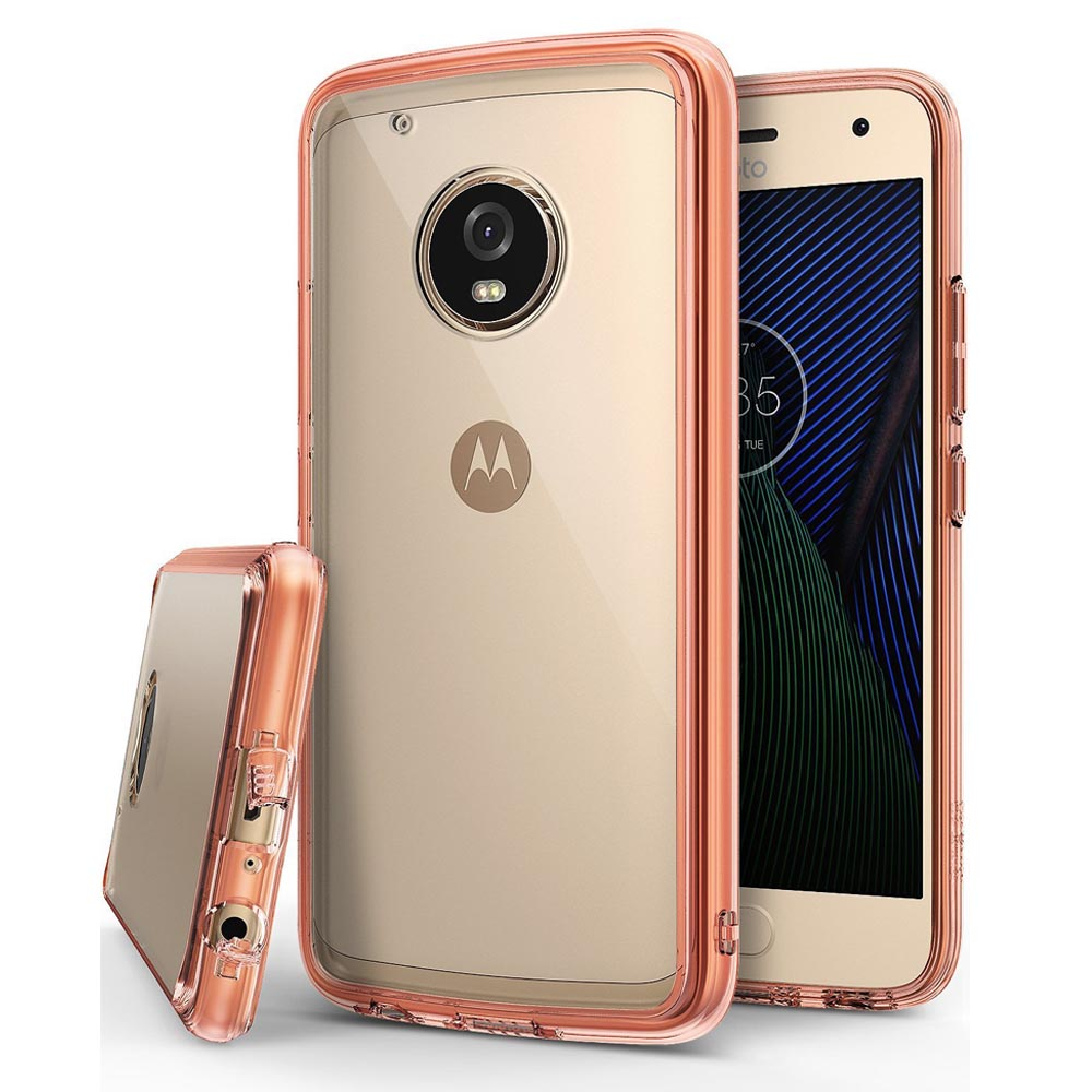 Motorola Moto G5 Plus Case, Ringke [FUSION] Crystal Clear PC Back TPU Bumper Case [Drop Protection / Shock Absorption Technology] - Rose Gold