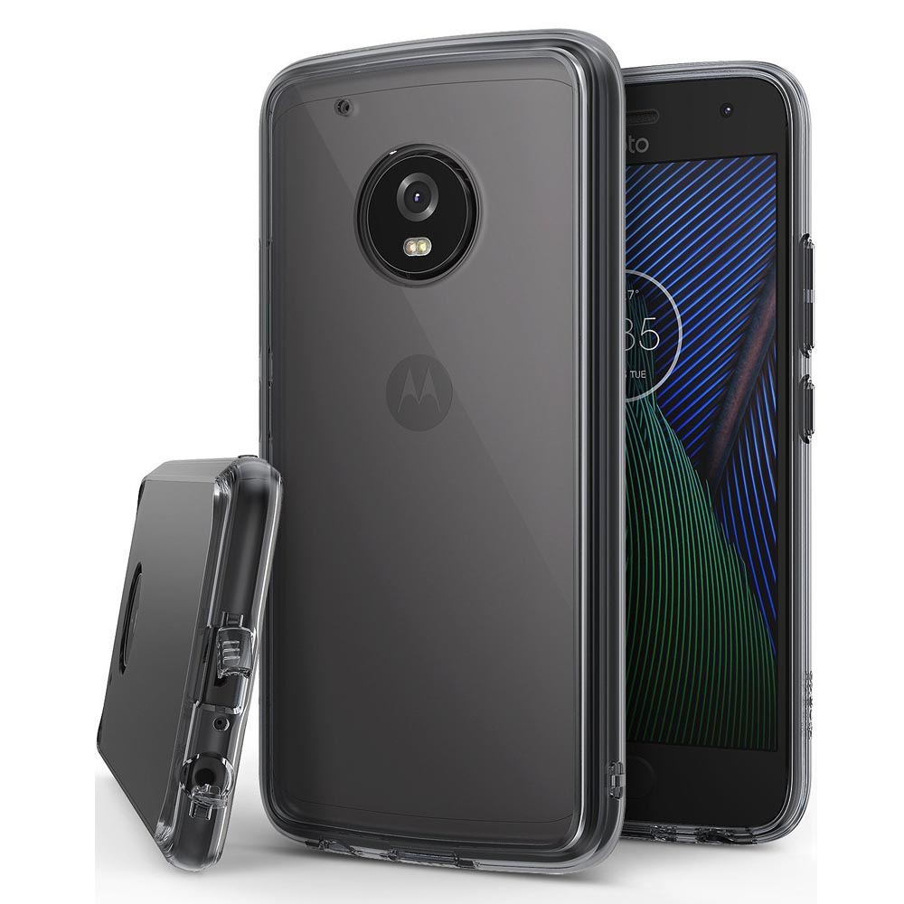 Motorola Moto G5 Plus Case, Ringke [FUSION] Crystal Clear PC Back TPU Bumper Case [Drop Protection / Shock Absorption Technology] - Smoke Black