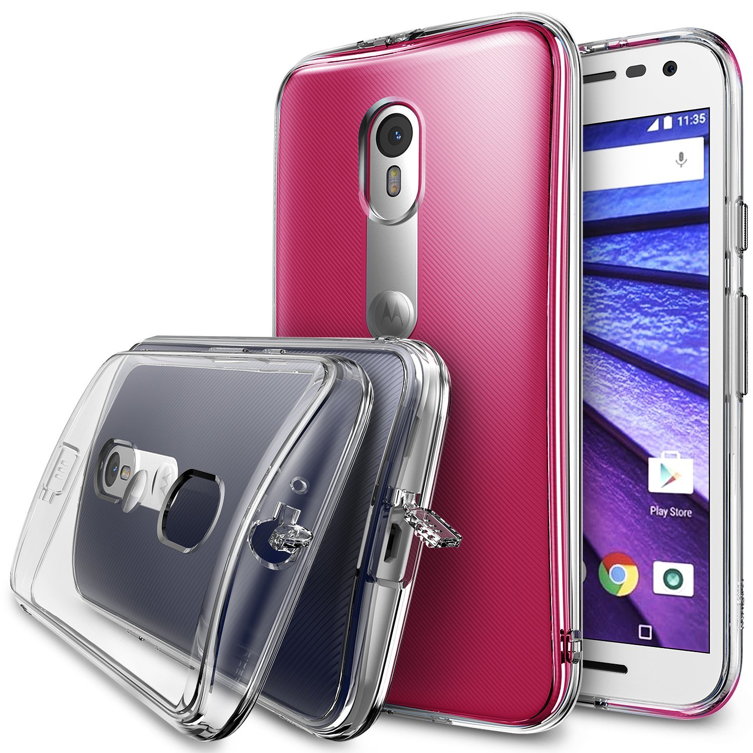 Moto G 3rd Gen 2015 Case, Ringke FUSION Series [Clear] Shock Absorption Premium Clear Hard Case