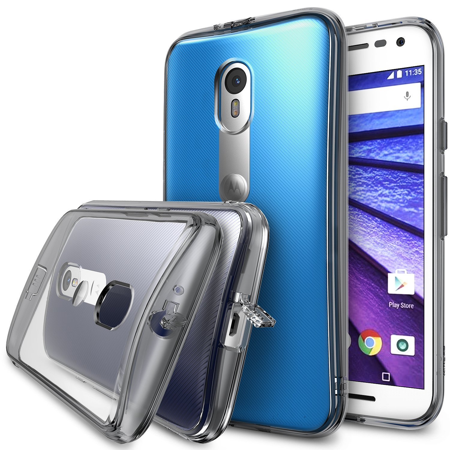 Moto G 3rd Gen 2015 Case, Ringke FUSION Series [Smoke Black] Shock Absorption Premium Clear Hard Case