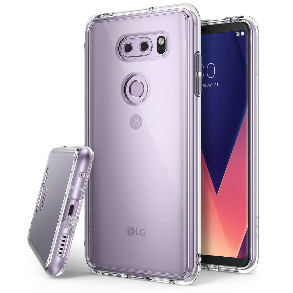 LG V30 Case, Ringke [FUSION] Crystal Clear PC Back TPU Bumper Drop Protection Cover - Clear
