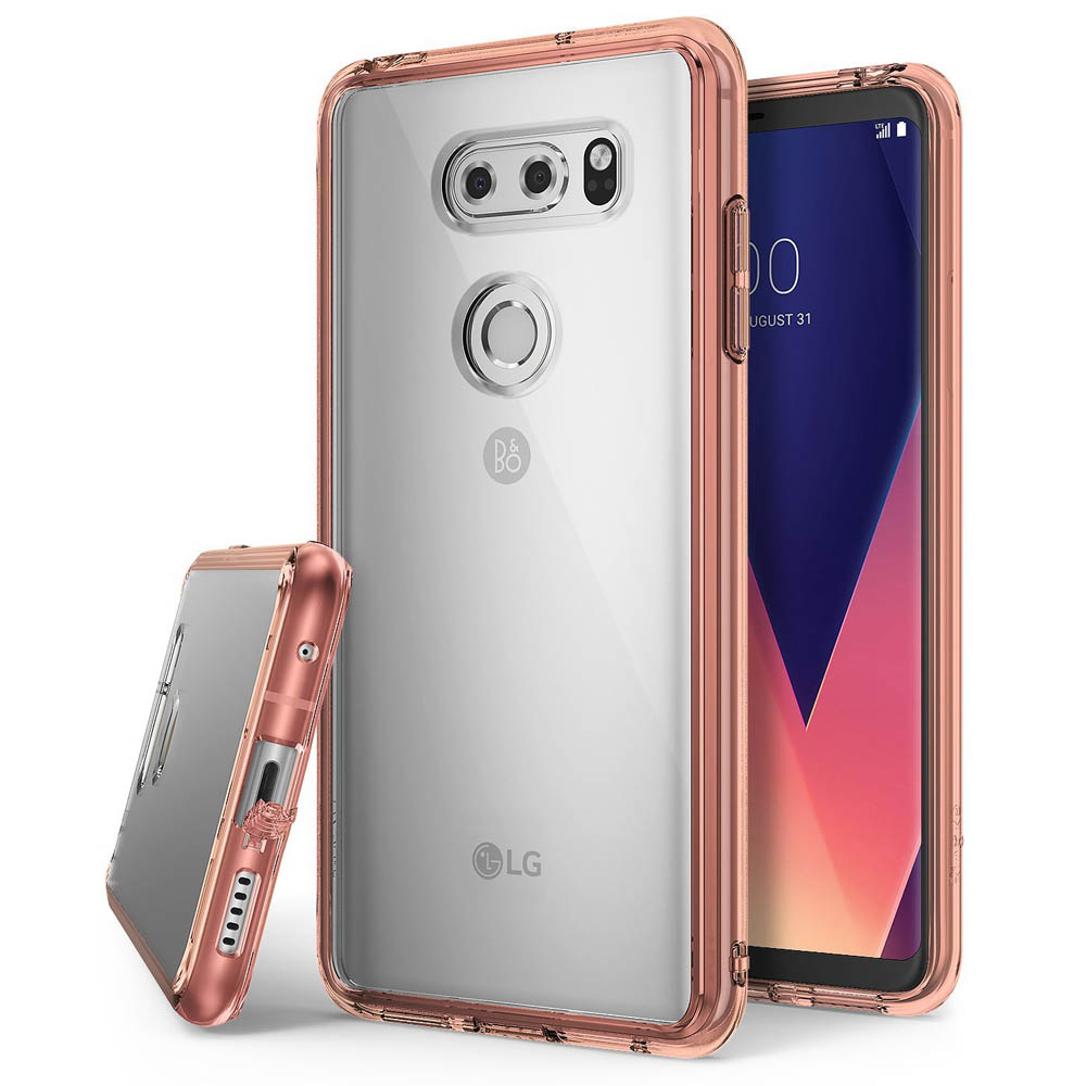 LG V30 Case, Ringke [FUSION] Crystal Clear PC Back TPU Bumper Drop Protection Cover - Rose Gold