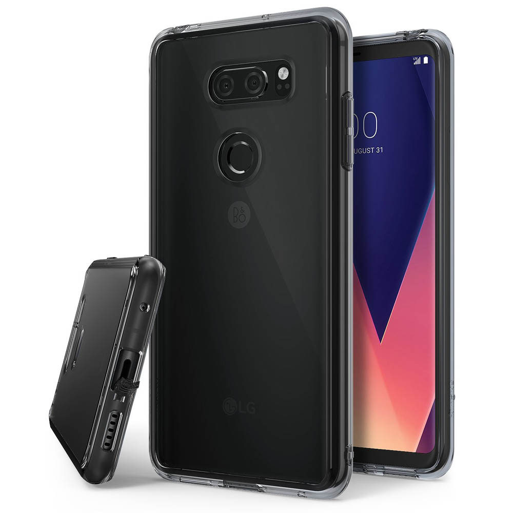 LG V30 Case, Ringke [FUSION] Crystal Clear PC Back TPU Bumper Drop Protection Cover - Smoke Black
