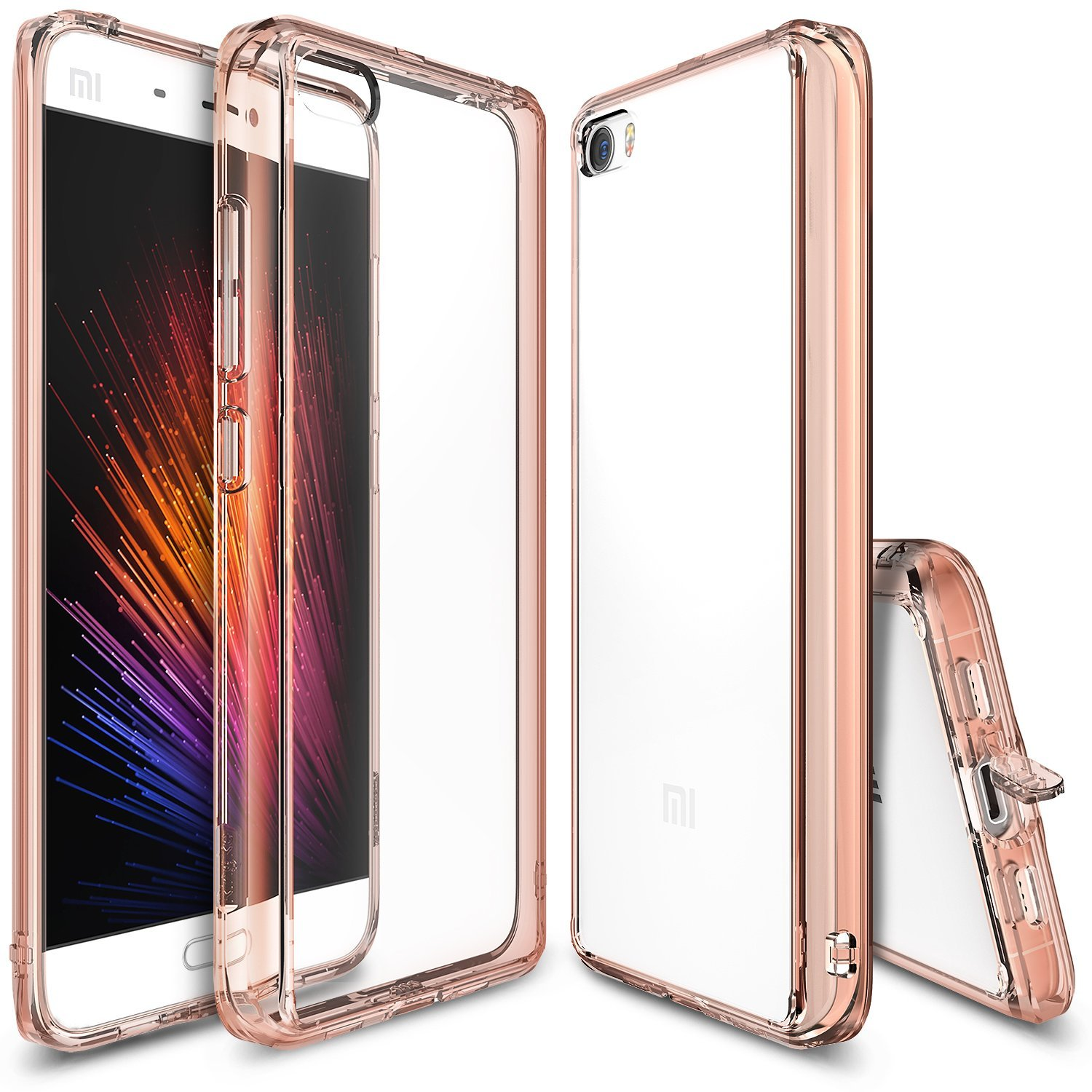 Xiaomi Mi 5 Case, Ringke [Rose Gold Crystal] FUSION Series Shock Absorption TPU Bumper Clear Hard Case