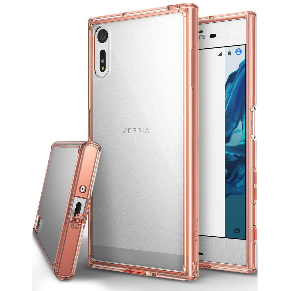 Sony Xperia XZ Case, Ringke [FUSION] Shock Absorption TPU Bumper Clear Case - Rose Gold
