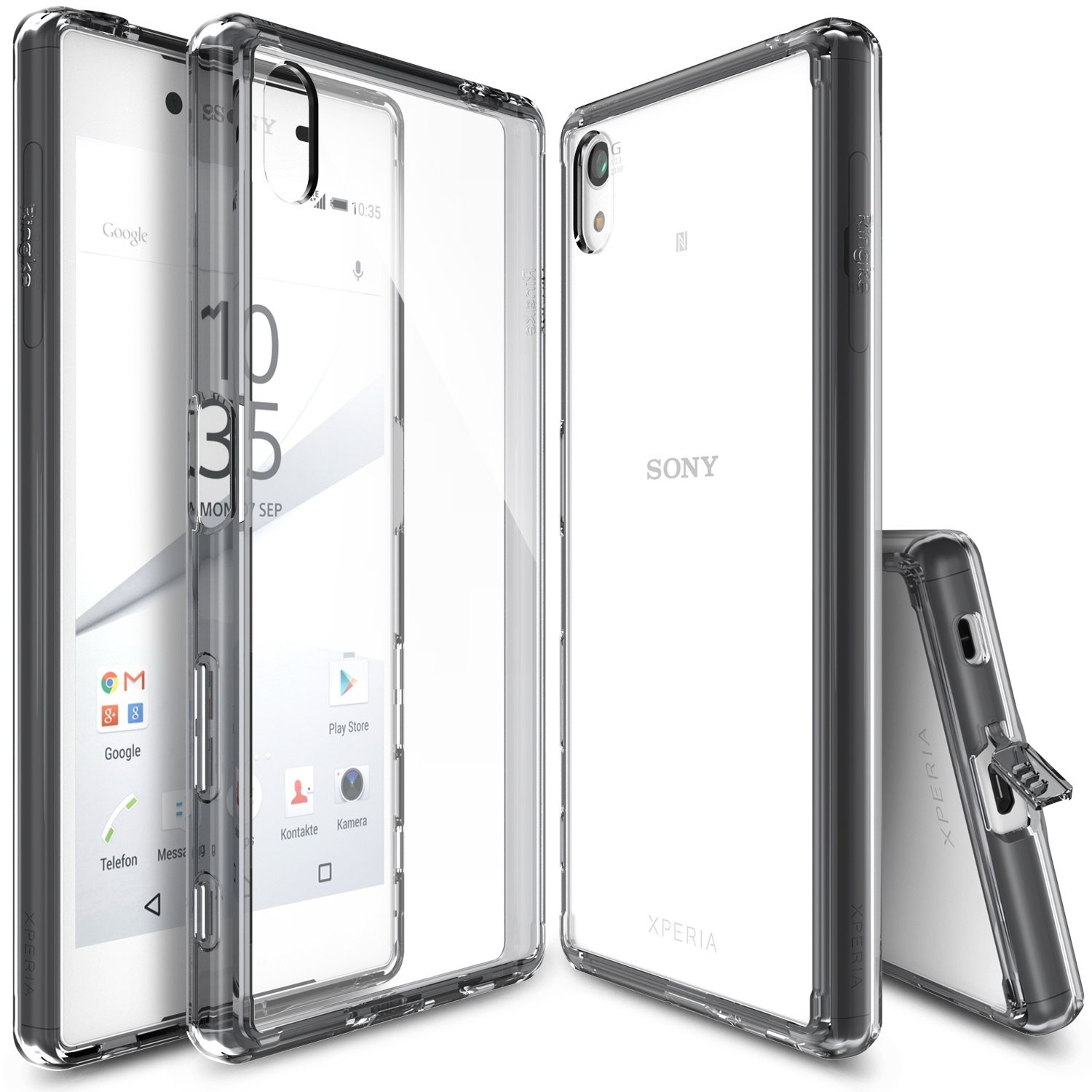 Sony Xperia Z5 Case, Ringke FUSION Series [Smoke Black] Shock Absorption Premium Clear Hard Case