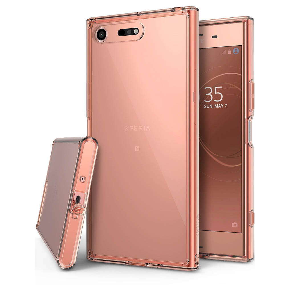 Sony Xperia XZ Premium Case, Ringke [FUSION] Crystal Clear PC Back TPU Bumper Drop Protection Cover - Rose Gold