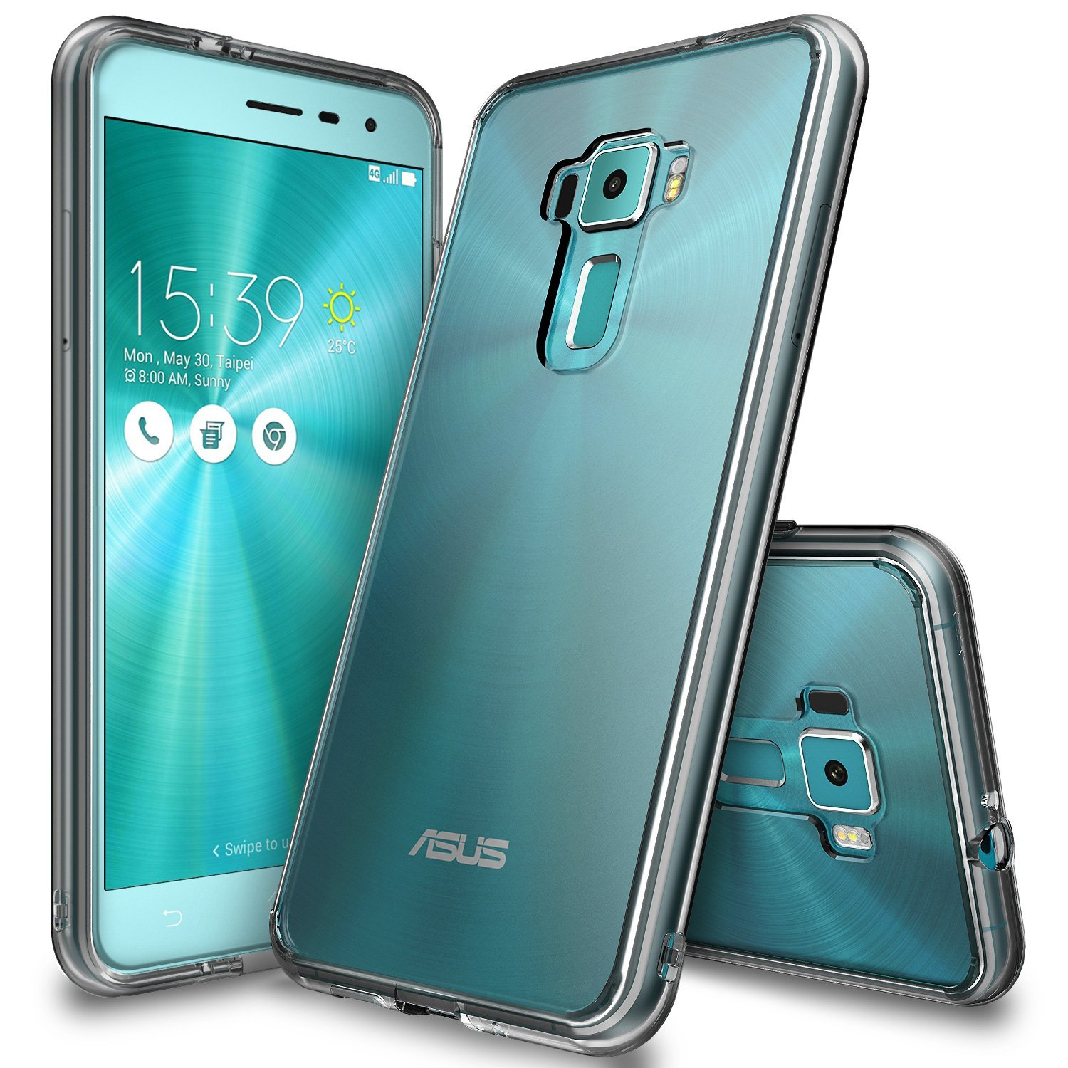 Asus Zenfone 3 Case, Ringke [Smoke] FUSION Clear PC Back TPU Bumper [Drop Protection/Shock Absorption Technology] Raised Bezels Protective Cover