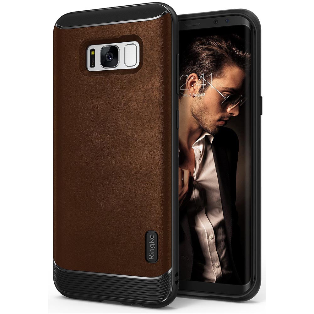 Samsung Galaxy S8 Shockproof Case, Ringke [Flex S Series] Elite Coated Textured Modern Leather-Style Streamlined Anti-Fingerprint Advanced Shockproof Sophisticated Rustic Case for Samsung Galaxy S8 - Brown