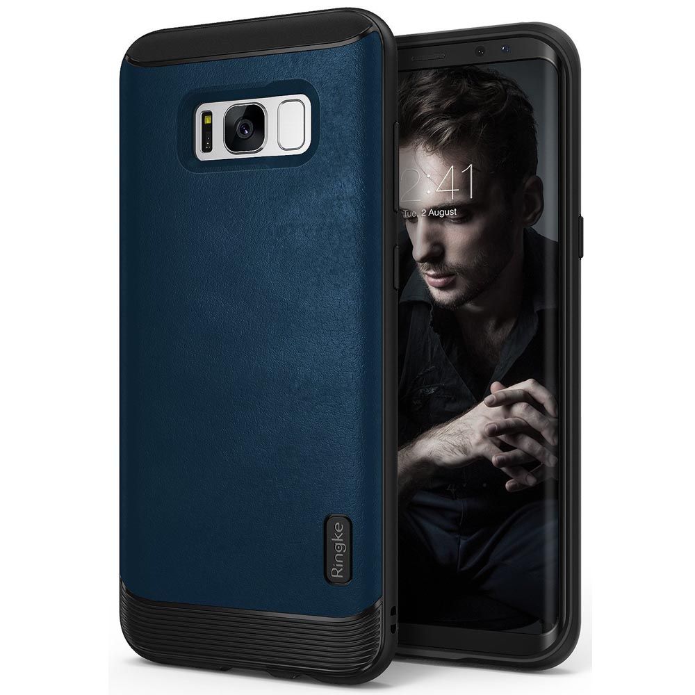 Galaxy S8 Plus Case, Ringke [FLEX S] Elite Modern Leather-Style Shockproof Protection Cover - Deep Blue