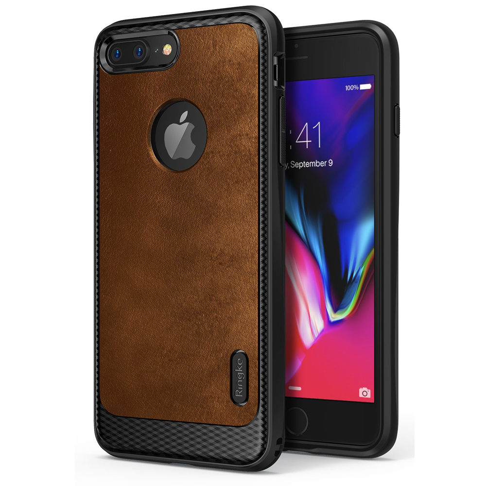 [Ringke] Apple iPhone 8 Plus / 7 Plus / 6S Plus / 6 Plus Case, [FLEX S] Elite Modern Leather-Style Shockproof Protection Cover [Brown]