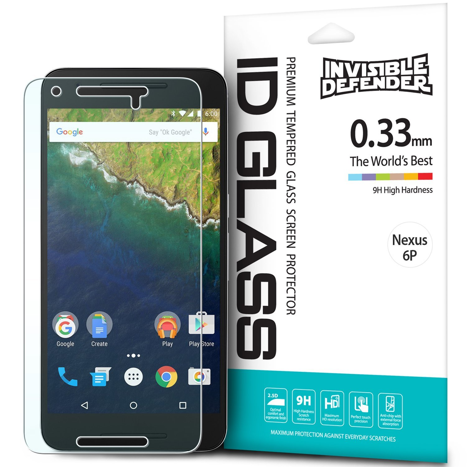 Huawei Google Nexus 6P Screen Protector, Ringke [Invisible Defender] Tempered Glass HD Ultra Thin Scratch Resistant, Bubble Free, Protective Screen Guard Film