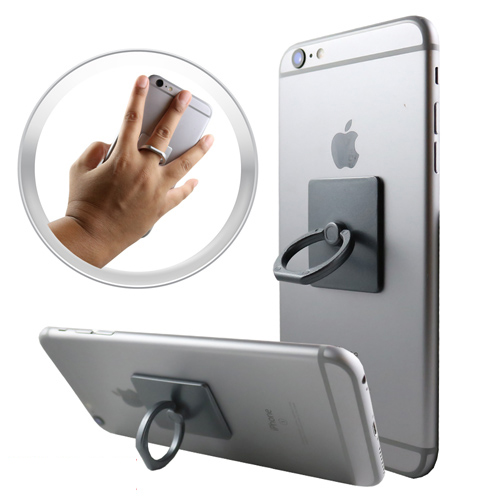 Phone Ring Stand Holder, 360 Degree Rotation Phone Grip Kickstand For Universal Smartphone Cell Phone Ring [Dark Gray]