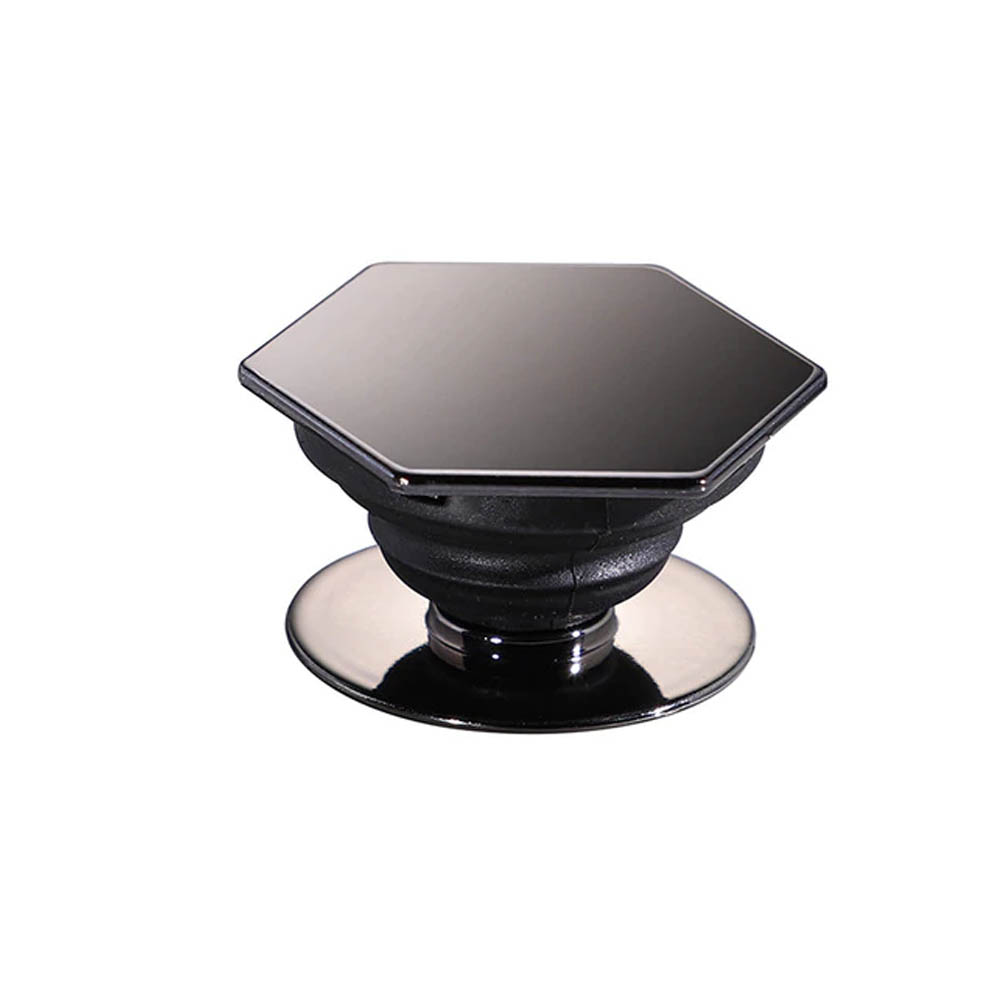 Redshield Hexagonal Pop Up Phone Ring Stand Holder. Expanding Stand & Grip Mount for Smart Phone. [Black]