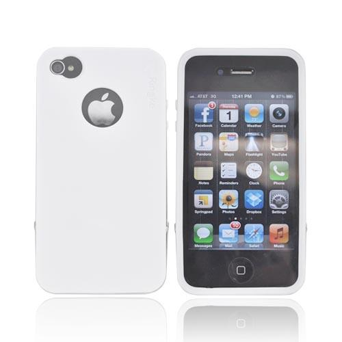 Original Rearth Apple iPhone 4S Ringke Steel Silicone Case w/ Steel Bumper, Lanyard & Screen Protector - White