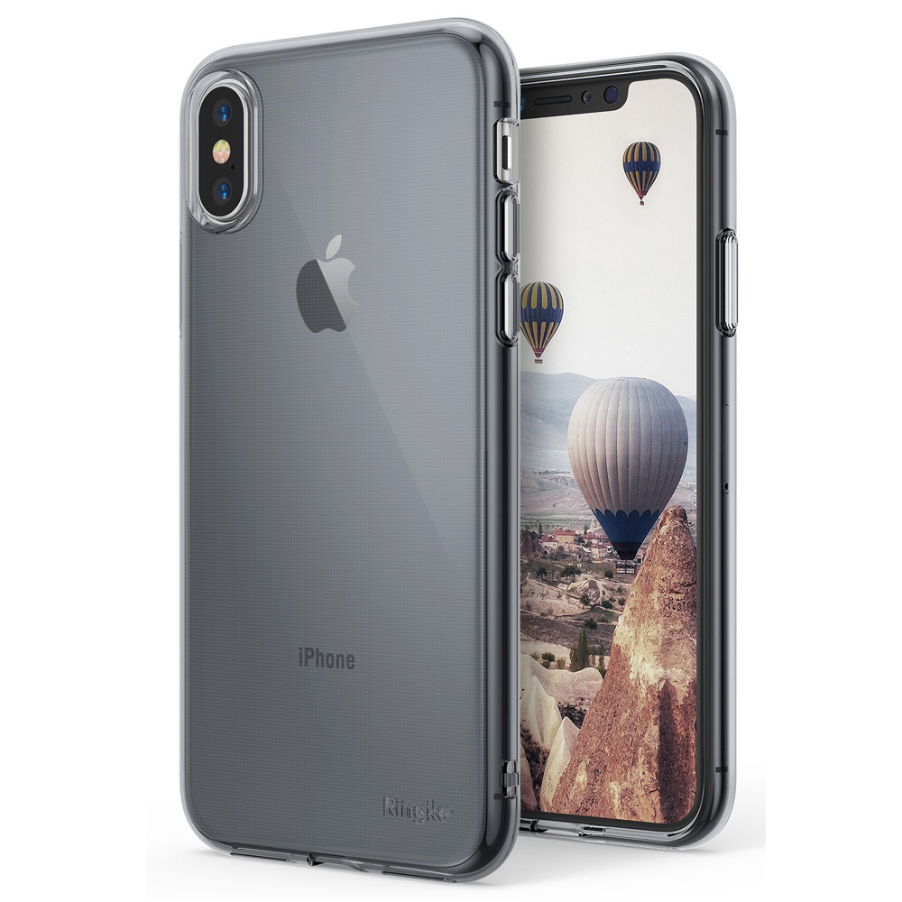 Apple iPhone X Case, Ringke [AIR] Flexible Transparent Lightweight & Soft TPU Protective Cover - Smoke Black