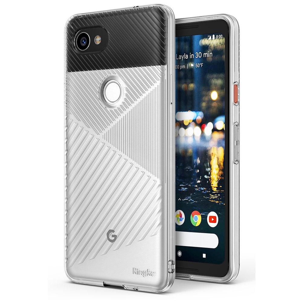 Google Pixel 2 XL Case, Ringke [BEVEL] Lightweight Diagonal Textured Form Fitting Shock Absorption TPU Protective Cover - Clear