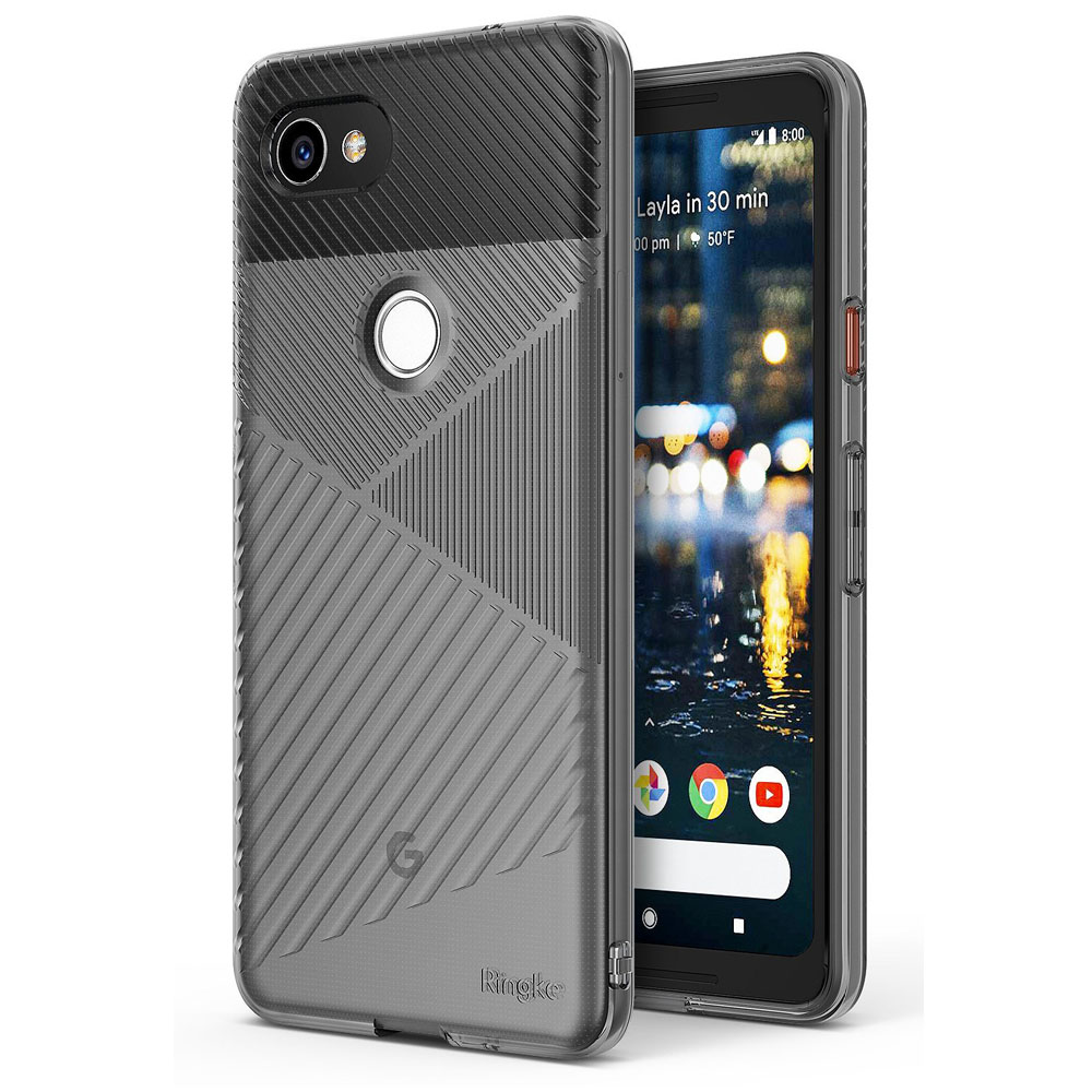 Google Pixel 2 XL Case, Ringke [BEVEL] Lightweight Diagonal Textured Form Fitting Shock Absorption TPU Protective Cover - Smoke Black