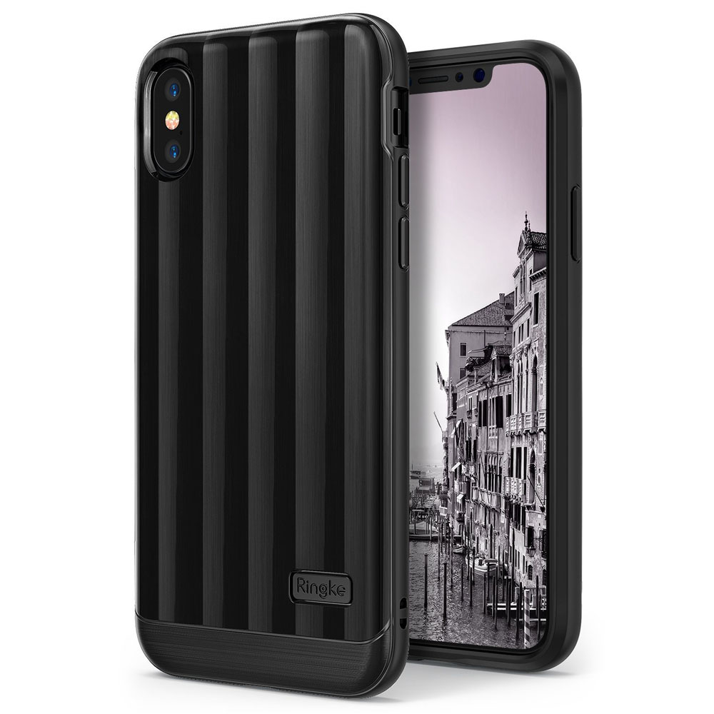 Apple iPhone X Case, Ringke [FLEX S PRO] Glossy Premium Coating Shockproof Cover Case - Titanium Black