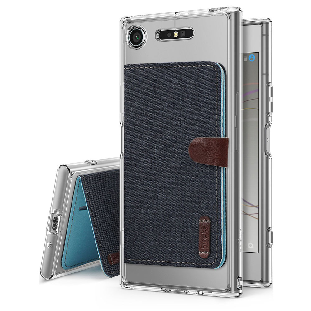 Sony Xperia XZ1 Case, Ringke [Advanced Accessory Kit] Fusion Clear Case with Attachable Flip Card Holder - Clear & Gray
