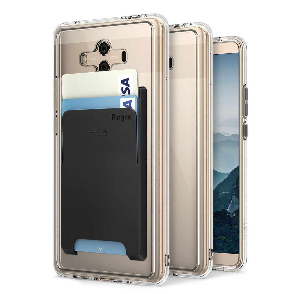 Huawei Mate 10 Case, Ringke [FUSION] Crystal Clear PC Back TPU Bumper Natural Shape Protection Cover with Attachable Slot Card Holder - Clear & Black