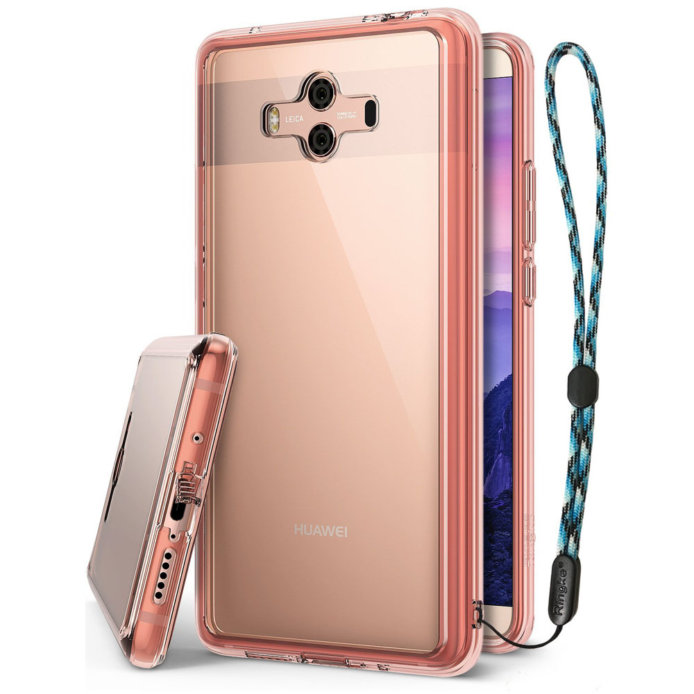 Huawei Mate 10 Case, Ringke [FUSION] Crystal Clear PC Back TPU Bumper Natural Shape Protection Cover with Wrist Strap - Rose Gold