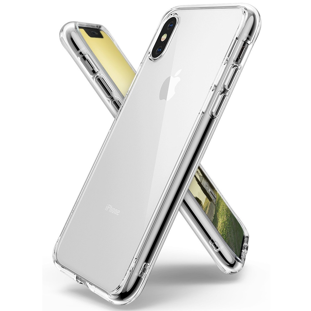 Apple iPhone X Case, Ringke [FUSION] Crystal Clear PC Back TPU Bumper Drop Protection Cover - Clear