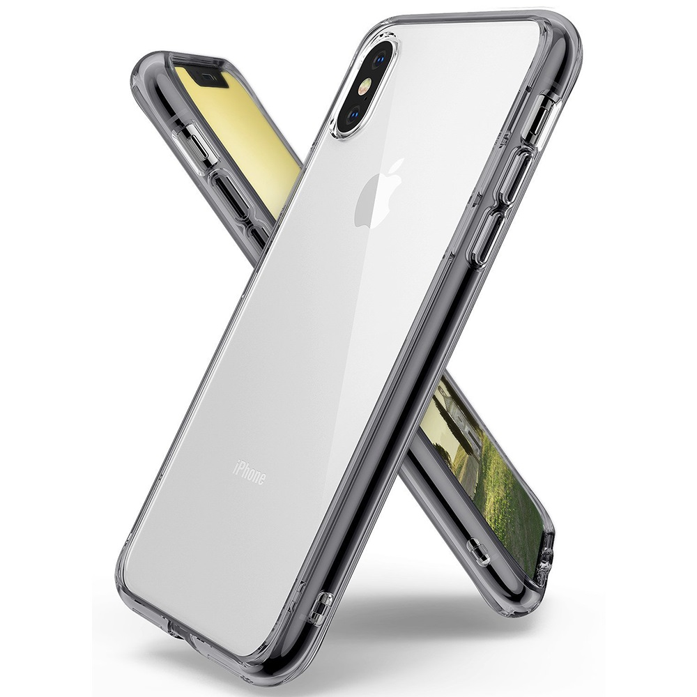 Apple iPhone X Case, Ringke [FUSION] Crystal Clear PC Back TPU Bumper Drop Protection Cover - Smoke Black