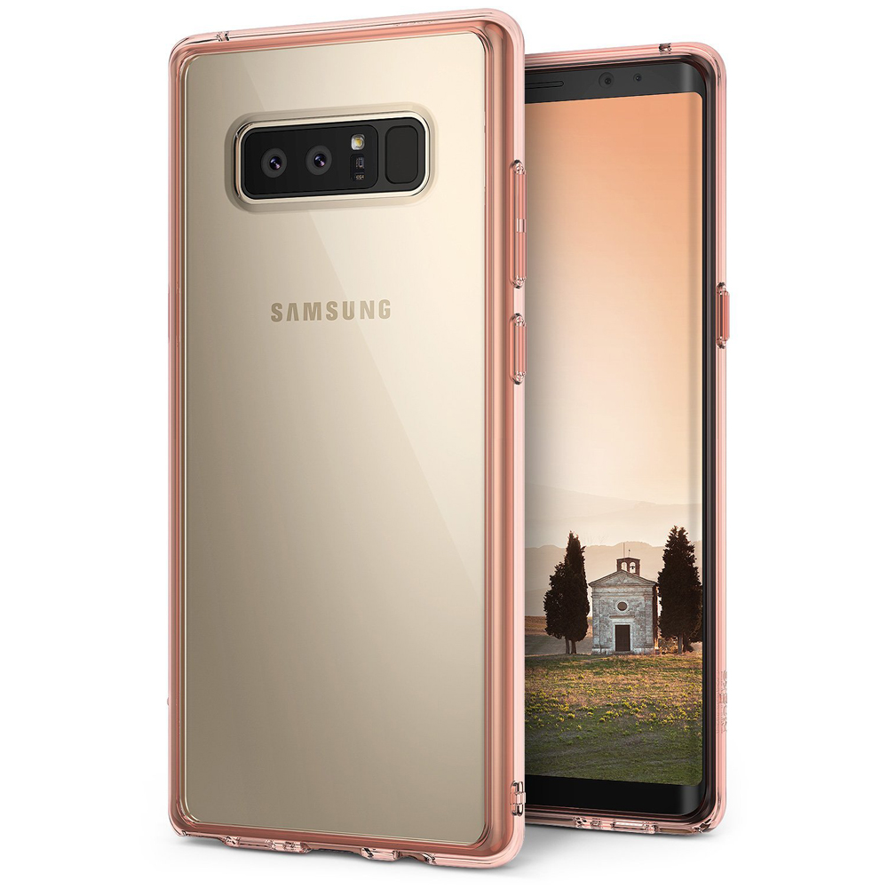 Samsung Galaxy Note 8 Case, Ringke [FUSION] Crystal Clear PC Back TPU Bumper Drop Protection Cover - Rose Gold