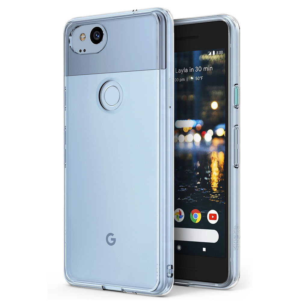 Google Pixel 2 Case, Ringke [FUSION] Crystal Clear PC Back TPU Bumper Natural Shape Drop Protection Cover - Clear