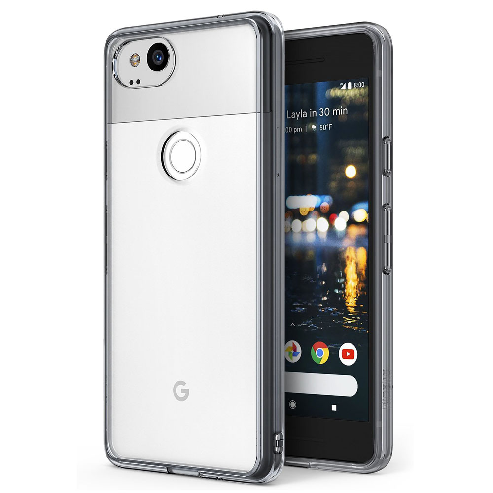 Google Pixel 2 Case, Ringke [FUSION] Crystal Clear PC Back TPU Bumper Natural Shape Drop Protection Cover - Smoke Black