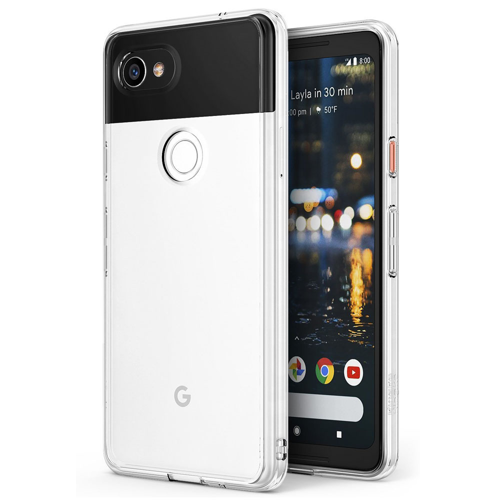 Google Pixel 2 XL Case, Ringke [FUSION] Crystal Clear PC Back TPU Bumper Natural Shape Drop Protection Cover - Clear
