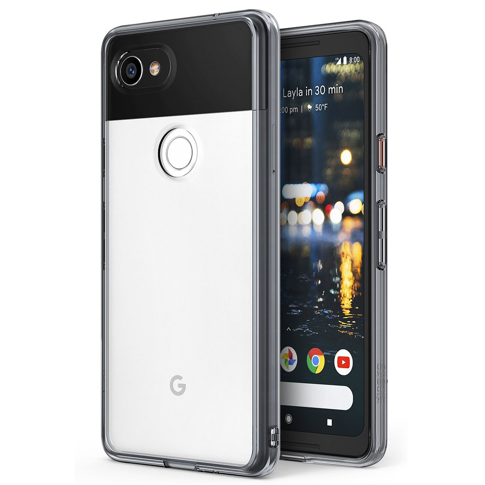 Google Pixel 2 XL Case, Ringke [FUSION] Crystal Clear PC Back TPU Bumper Natural Shape Drop Protection Cover - Smoke Black