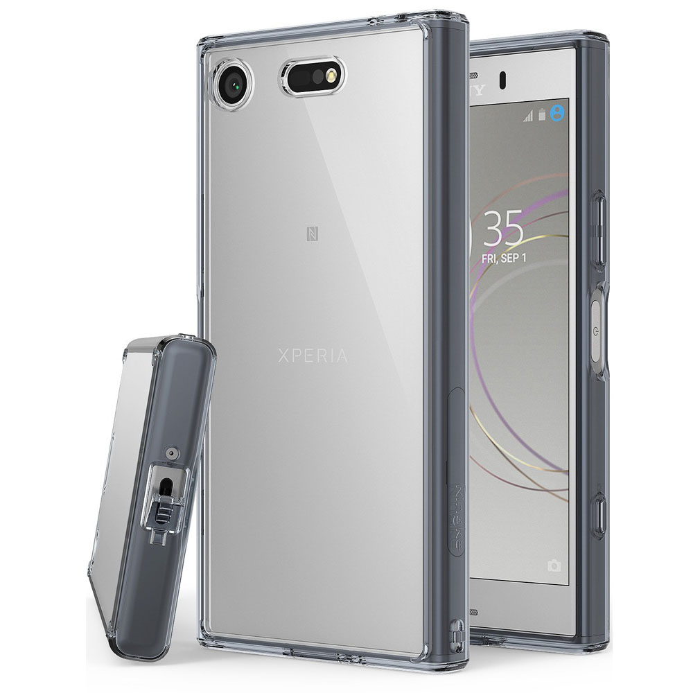 Sony Xperia XZ1 Compact Case, Ringke [FUSION] Crystal Clear PC Back TPU Bumper Drop Protection Cover - Smoke Black