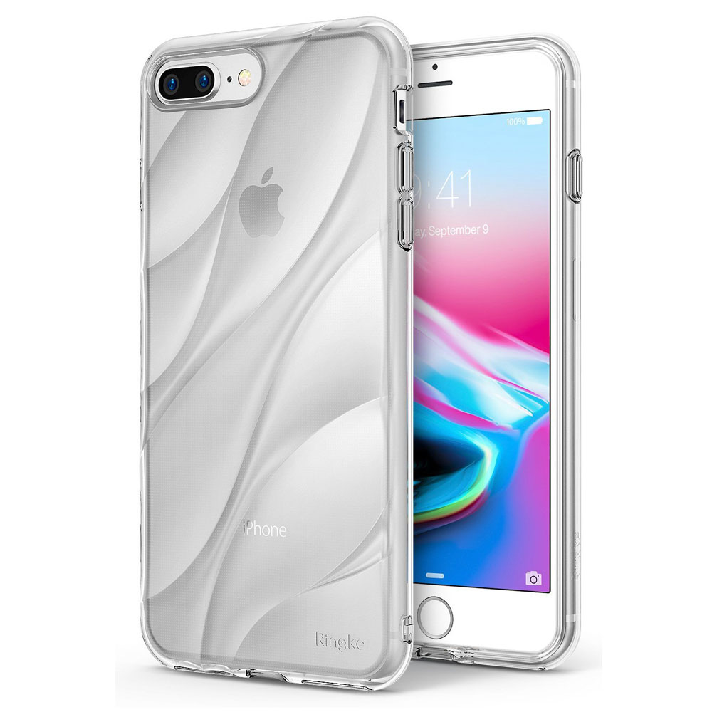 Apple iPhone 8 Plus/ 7 Plus Case, Ringke [FLOW] Minimalist Wavy Textured Shockproof TPU Design Cover - Clear