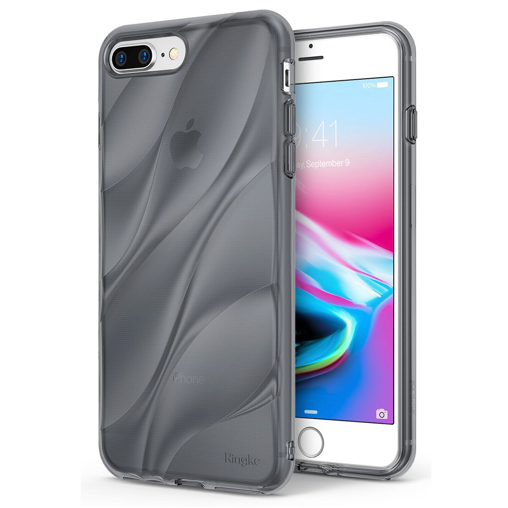 Apple iPhone 8 Plus/ 7 Plus Case, Ringke [FLOW] Minimalist Wavy Textured Shockproof TPU Design Cover - Smoke Black