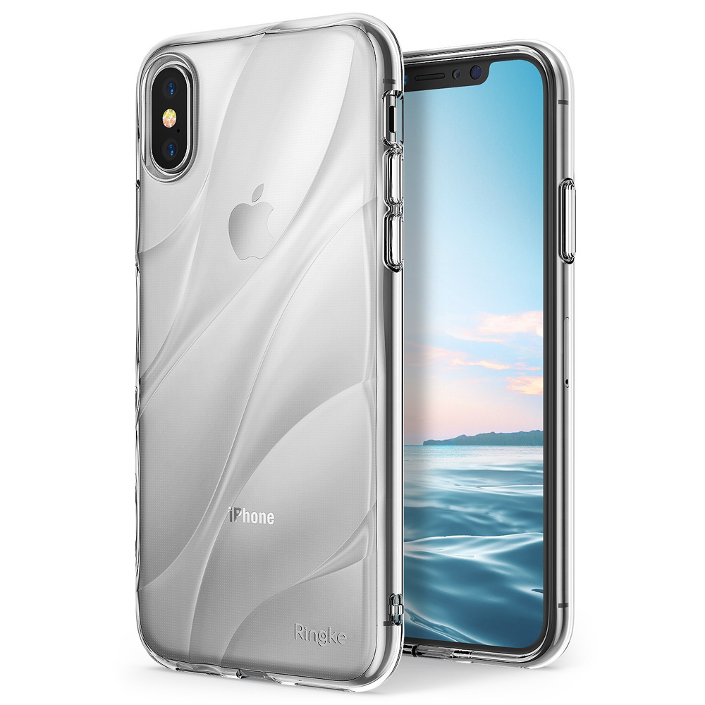 Apple iPhone X Case, Ringke [FLOW] Minimalist Wavy Textured Shockproof TPU Design Cover - Clear