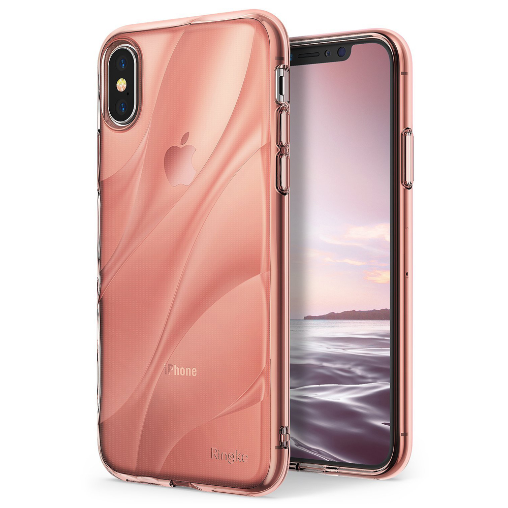 Apple iPhone X Case, Ringke [FLOW] Minimalist Wavy Textured Shockproof TPU Design Cover - Rose Gold