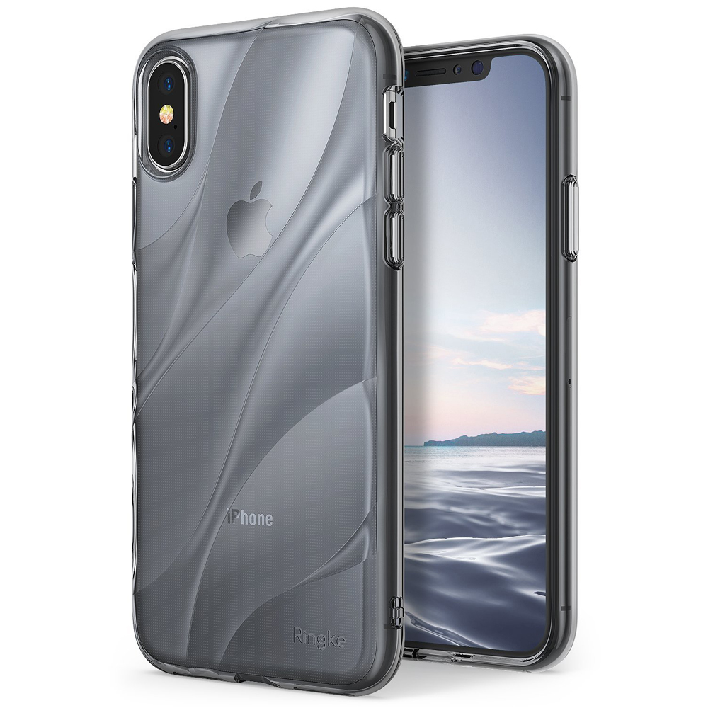 Apple iPhone X Case, Ringke [FLOW] Minimalist Wavy Textured Shockproof TPU Design Cover - Smoke Black