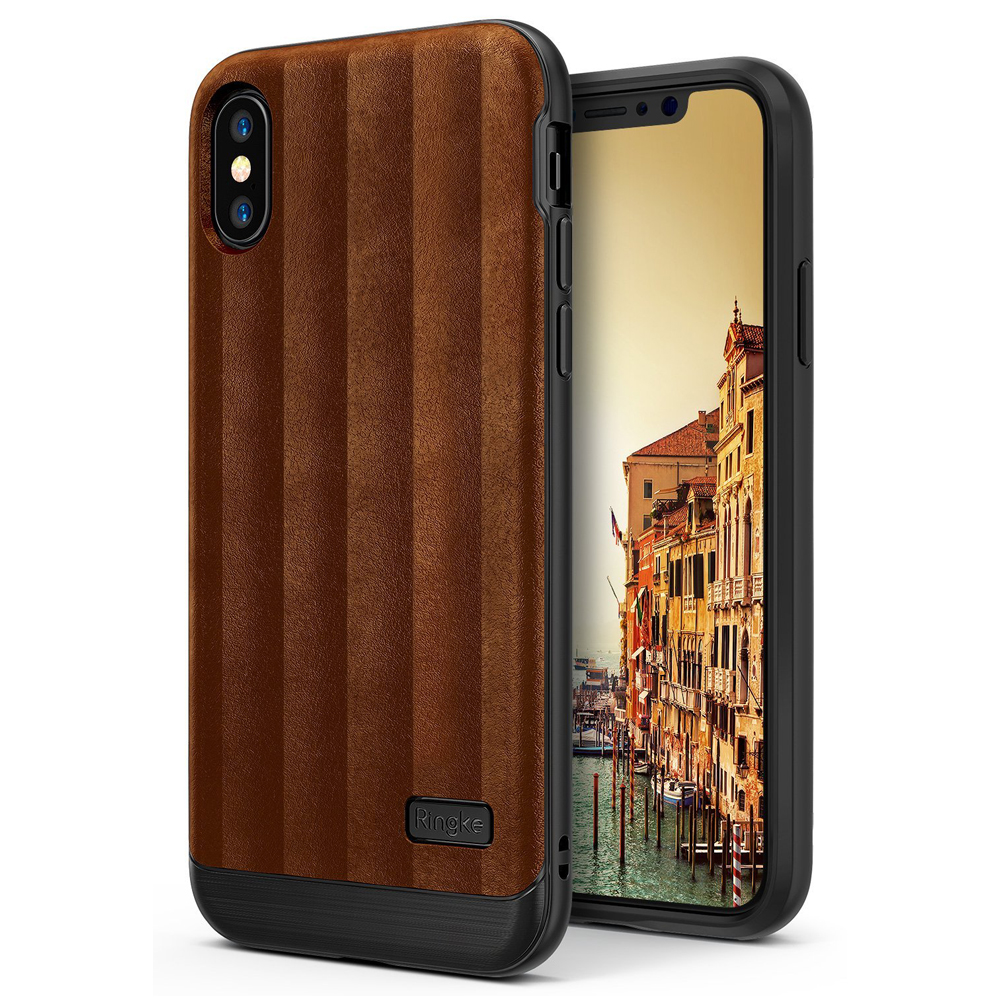 Apple iPhone X Case, Ringke [FLEX S] PU Leather Style Shockproof TPU Protective Cover - Brown