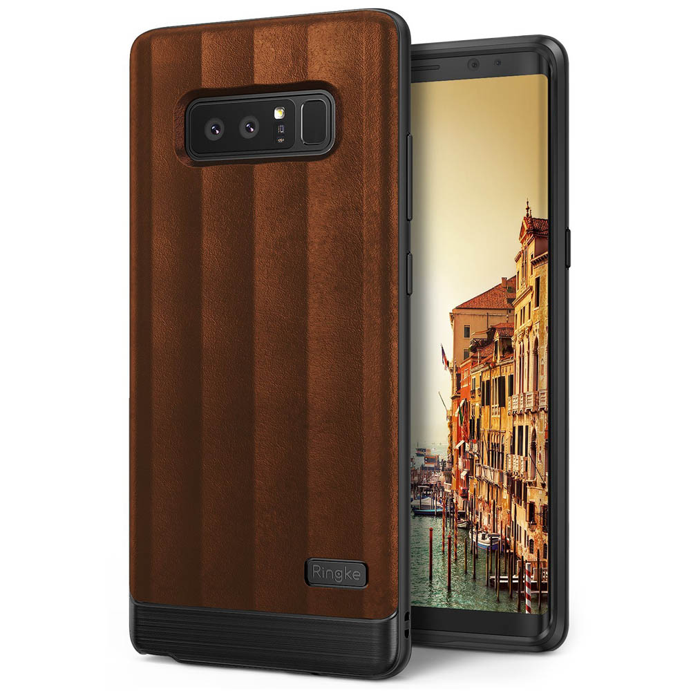 Samsung Galaxy Note 8 Case, Ringke [FLEX S] PU Leather Style Shockproof TPU Protective Cover - Brown