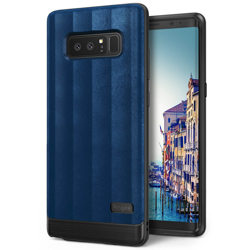 Samsung Galaxy Note 8 Case, Ringke [FLEX S] PU Leather Style Shockproof TPU Protective Cover - Deep Blue