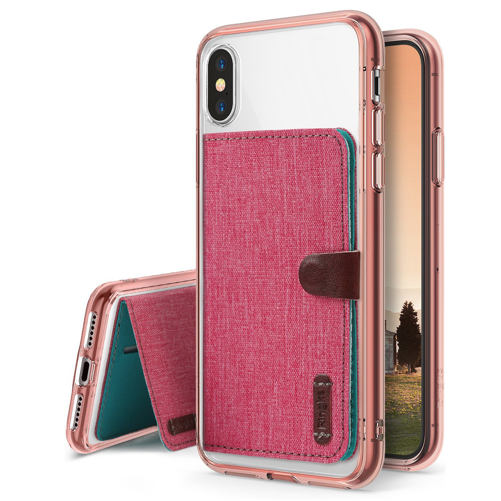 Apple iPhone X Case, Ringke [Advanced Accessory Kit] Fusion Clear Case with Attachable Flip Card Holder - Rose Gold & Deep Pink
